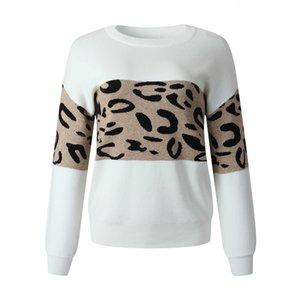 Novo desgaste das mulheres em 2021 leopardo redondo pescoço pulôver camisola feminina my203s4086 s