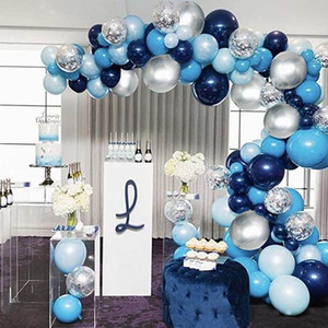 104pcs Navy Blue Balloons Arch Kit Silver and Gold Confetti Balloons for Baby Shower Birthday Party Decorations Wedding Globos