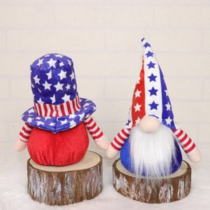 Party Supplies Plush Gnomes 4th of July Independence Day Doll Handmade American Uncle Sam Tomte Figurine Veterans Days Gifts Tabletop Holiday Decor 5pcs HH21-417