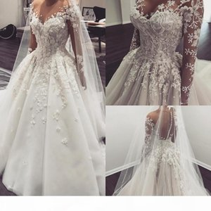 Gorgeous Long Sleeves Wedding Dresses with 3D Floral Applique 2021 Illusion Covered Buttons Back Custom Made Wedding Gown vestido de novia