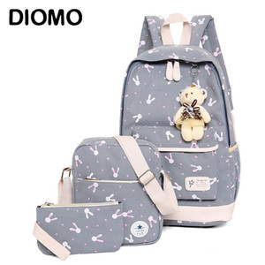 DIOMO rucksack school bags set Three-piece suit book bags for girl teenagers laptop backpack women travel bagpack female casual 210306