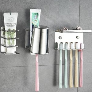Stainless Steel Wall Mounted Bathroom Storage Rack Multi-Purpose Toothpaste Toothbrush Traceless Adhesive Cup Holder