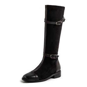 Пряжка к квадратным пальцам носят пряжка моды все-мода все-спитная кожаная кожаная кожаный бархатный шов Microfibre Simple Knight Boots 3CZ8