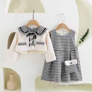 Lady style children clothing sets girls Bows tie plaid lapel long sleeve thicken outwear+lattice pleated vest dress 2pcs 2021 winter kids princess outfits Q2062