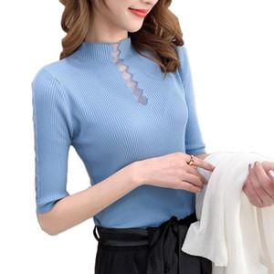 Женские трикотажные половины рукава сплошные футболки для девочек вязание растягивающие водолазка.