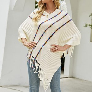 Women's Blouses & Shirts Autumn Sweater Poncho Women Knitted O Neck Pullover Shawls Wraps Capes With Stripe Patterns And Fringed Sides