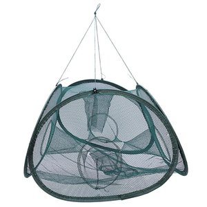5 fori Automatic Fishing Net Shrimp Cage Nylon Pieghevole Pieghevole Pesce Trappola Cast Net Cast Pieghevole Pesca