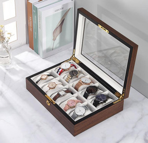 Wooden Watch Box Large Capacity Storage Metal Jewelry Wooden Box Walnut Watch Display Storage Case Watch Holder Boxes sea ship GWB5045