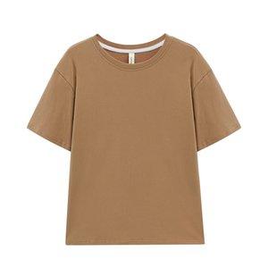 TopPies 2021 Mujer camisetas Tops de algodón de gran tamaño Harajuku Cuello de la tripulación de la tripulación de la manga corta Ropa femenina Color sólido 210304