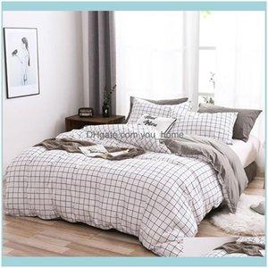 Bedding Supplies Textiles Home & Gardenbedding Sets Grid Duvet Er Set With Pillowcase Simple Comforter White Plaid 2 Choices Cotton Microfib
