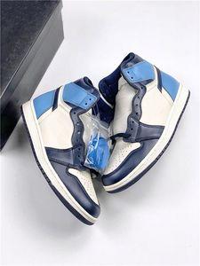 Обсидиан 1 Ретро Высокий OG Спортивные кроссовки Черный Синий Носок Мужчины Женщины Обувь 1S Университет Синий UNC Патент Дизайнер Скейтборд Тренеров