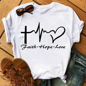 New Fashion Women T Shirts Faith Hope Love Heart Letter Print Summer Female Tshirts Hipster Love Tee Tops Girl