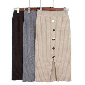 Gigogou Yüksek Bel Sonbahar Kış Örme Kadın Etekler Sıcak Etek Uzun Kadın Kabuk Etekler Ile 210305