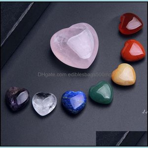 Arts, Gifts & Gardennatural Crystal Stone Beads Heart Shaped Gemstone Ornaments 7Pcs Set Yoga Energy Stones Crafts Home Decoration Dwa5144 D