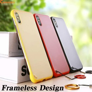 2021Ultra Thin Frameless Phone Case Cover Transparent Cellphone Cases with Lanyard and Finger Ring for iPhone XR XS MAX 8 Huawei P30 Pro