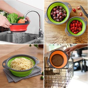Colanders & Strainers Round Folding Drain Basket Fruit Two Piece Creative Kitchen Tools Stocked,eco-friendly CIQ
