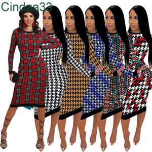 Women Dresses Designer Clothes 2021 New Fashion Slim Sweater Casual Loose Dress Long Sleeve Crew Neck Irregular Print Ladies Dress Plus Size