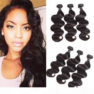 8A ملحقات الشعر البرازيلي 3PCS LOT Natural Black Body Wave 10 '' - 26 '' Double Hair Wefft Malaysian Virgin Hair Weffts