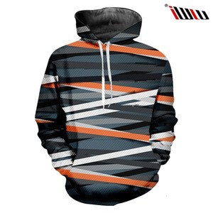 Ujwi Black and White Cross Stripes Men's Hooded Pullover 3d Printed Hoodies Man Spandex Clothing the New Listing 6xl
