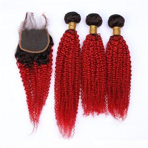 Cabello humano de Malasia Negro a rojo Ombre Kinky Weave Weave Free 3pcs con cierre # 1b Red Ombre 4x4 Lace Front Closure con 3bundles