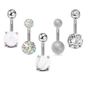 5pcs Sexy 316L Acciaio chirurgico Bar Beny Bottone Anelli Donne Donne Crystal Ball Girls Navel Piercing Barbell Orecchino Stone Body Jewelry Set 489 T2