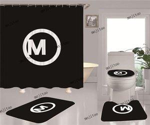 패션 간단한 샤워 커튼 4 조각 세트 3D 인쇄 된 홈 욕실 액세서리 4pcs 정장 방수 미끄럼 방지 화장실 매트