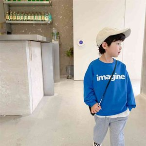 Autumn boys fashion printing long sleeve sweatshirts simple letters 4 colors all-match Tops 210708