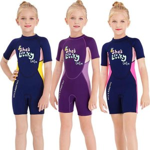Children Diving Suit Lucky Girl 2.5mm Neoprene Wetsuits Surfing Jellyfish Short Swimwear Wetsuit For Girls Kids Swimsuit