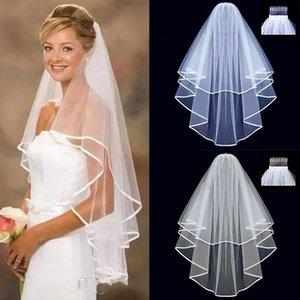 Kısa Tül Düğün Veils İki Katmanlı 75 cm Tarak Beyaz Fildişi Gelin Peçe Gelin Evlilik Düğün Aksesuarları için
