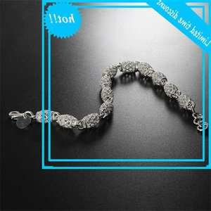 Luxury Female Hollow Flower Chain Trendy Silver Color Bruiling Bracelets For Women Lovely Bridal Long Party Bracelet