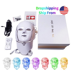 7 color Led mask Korea photon therapy machine phototherapy acne neck cosmetic USA warehouse DHL DH