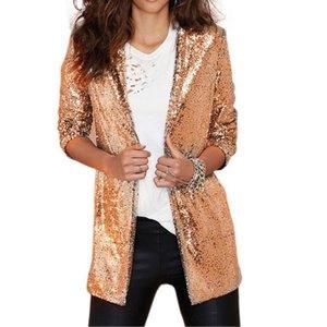 Сдержанные блейзеры Женщины Mid Длинные костюмы Куртки 2021 Весна Осень Новый Плюс Размер Блестящий Клуб Вечеринка Blazer Черный Стадия Куртки