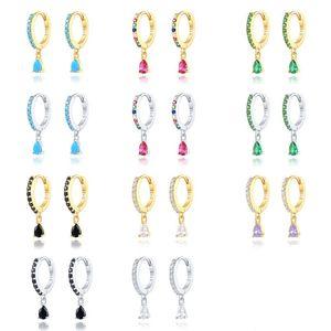 Sterling Silver Sparking Rainbow Zircon Korean Earring Hoops Earring For Lovers' Woman Girl Pendientes Brincos Fine Jewelry 724 Z2