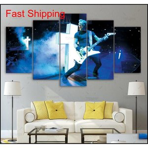 Modern Art Home Wall Decor Decorative 5 Panel Metallica Band Guitar Pictures Hd Print Painting On Can qylaqu garden2010