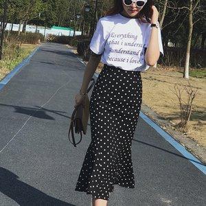 Été plein de bleu d'été Coréen Nouveau à taille haute High Taille de la mousseline de mousseline de mousseline de mousseline féminine avec une jupes de fishtail en enveloppe de hanche