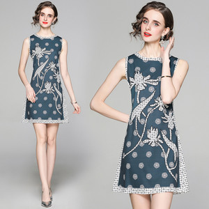 Dropshipping New Arrival Summer Runway Vintage Print Round Crew O Neck Sleeveless Women Ladies Casual Luxury A-line Mini Vest Shift Dress