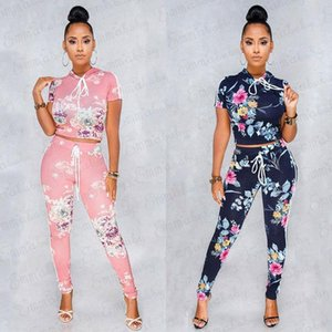 Women Hoodies suit and sets Casual hooded Tops Pants 2PCS Track Suits Woman Floral Print Trousers Jumper Tops Clothing Set