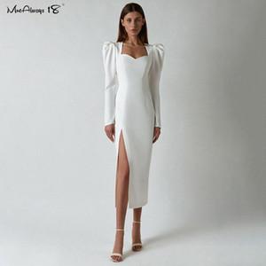 Elegant Bodycon Midi Dress Women White High split Dress Sexy Puff Sleeve Autumn Winter Evening Party Dresses Ladies