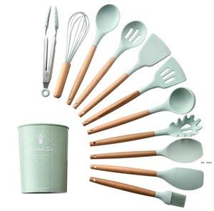 Silikon Küchenwerkzeuge mit Holzgriff 12 Stück Set Nicht-Sstick Pan Spade Leck Spade Suppe Löffel Kochutensilien DHE5086