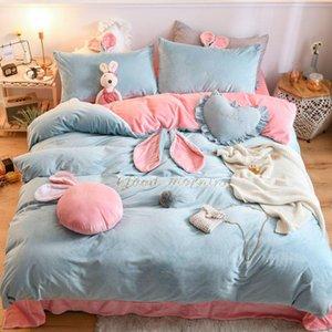 Bedding Sets Velvet Fleece Set 4pcs set Stripe Duvet Cover Flat Pillowcase Sheet Fitted Winter Bed Warm Flannel Bedspreads Linen