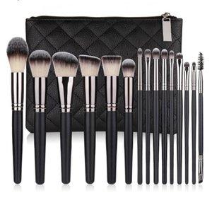 15 PCs Makeup Brush Set Premium Synthetic Kabuki Foundation Brushes, Professional Wooden Handle Cosmetic Brushes with Sponge Brush-set Cleaner & Travel PU Bag