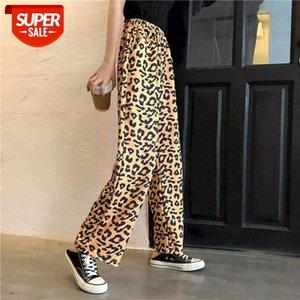Harajuku Streetwear Mujeres coreanas Cintura Alta Cintura Leopardo Leopardo Verde Caqui Sexy Pantalón Solido Pantalón Rockulzzang Contraste Graffiti # NJ4Q