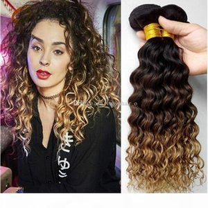 8A Ombre Hair Weave Brazilian Deep Wave Curly 3 Bundles Cheap Three Tone 1B 4 27 Honey Blonde Ombre Human Hair Extensions