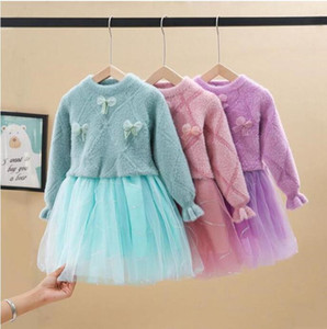 Baby Girls Sweater Dress Toddler Bow Lace Princess Dresses Long Sleeve Princess Dress Children Dresses Boutique Baby Clothing Set WMQ592