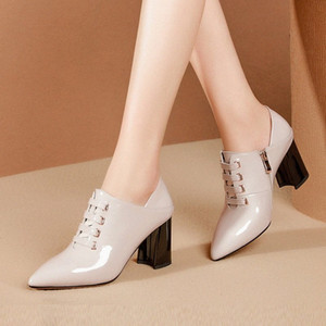 Women Pumps Cow Leather Women Shoes Pointed Toe Retro Style High Heels Genuine Leather Lady Platform Pumps Shoes Size 34 42 White Shoe m96X#