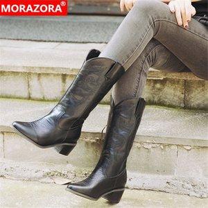MORAZORA 2020 Горячие западные ботинки заостренный носок квадратный каблук осень зима повседневные туфли женщин середины теленка большие размеры 46 оптом B7HG #