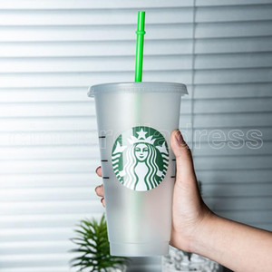 Clear Starbucks 24OZ 710ml Plastic Tumbler Reusable Clear Drinking Flat Bottom Cup Pillar Shape Lid Straw Mug Bardian 50pcs DHL Shipping