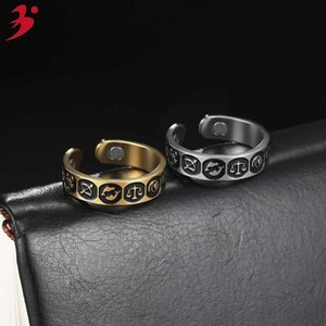 Jewelry personality Zodiac graphic magnetic stainls steel open men's ring