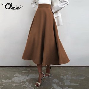 Skirts Celmia Women's Long 2021 Fashion Pleated High Waist Party Office Skirt Casual Solid Loose Zipper Elegant Buttom