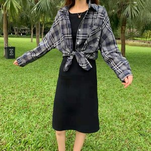 Women's Spring Harajuku Check Overshirt Jacket Autumn Short College Coat Outerwear Korean Style Fashion Female Clothing
